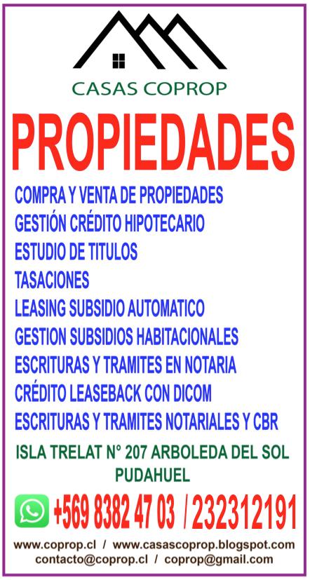Realizo los tramites necesarios para que Ud. logre su objetivo y sea propietario de alguna de las viviendas que ofrecemos o captada por Ud. Experto en Leasing Subsidio Automático inmediato, Subsidio DS1 y crédito hipotecario, con sin Subsidio en cualquier Banco o mutuaria. Movilidad Habitacional. Consultas e informes: Fono o wsp 9 83824703 coprop@gmail.com Juan Contreras G. Isla Trelat N°207 Arboleda del Sol Poniente. Pudahuel. R. M