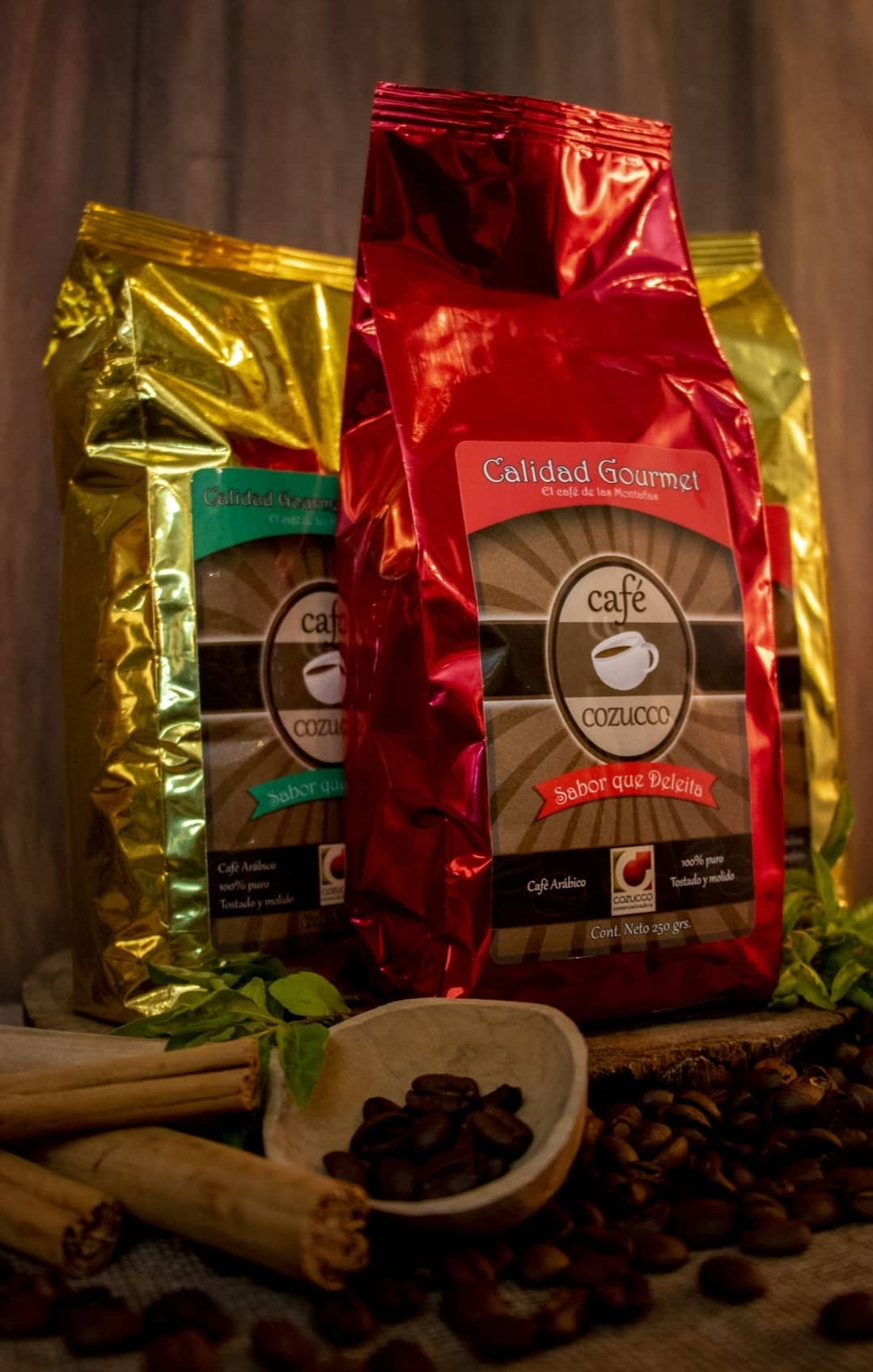 Café Gourmet en Grano, molido y Descafeinado en presentaciones de 1k, ½k, ¼k
