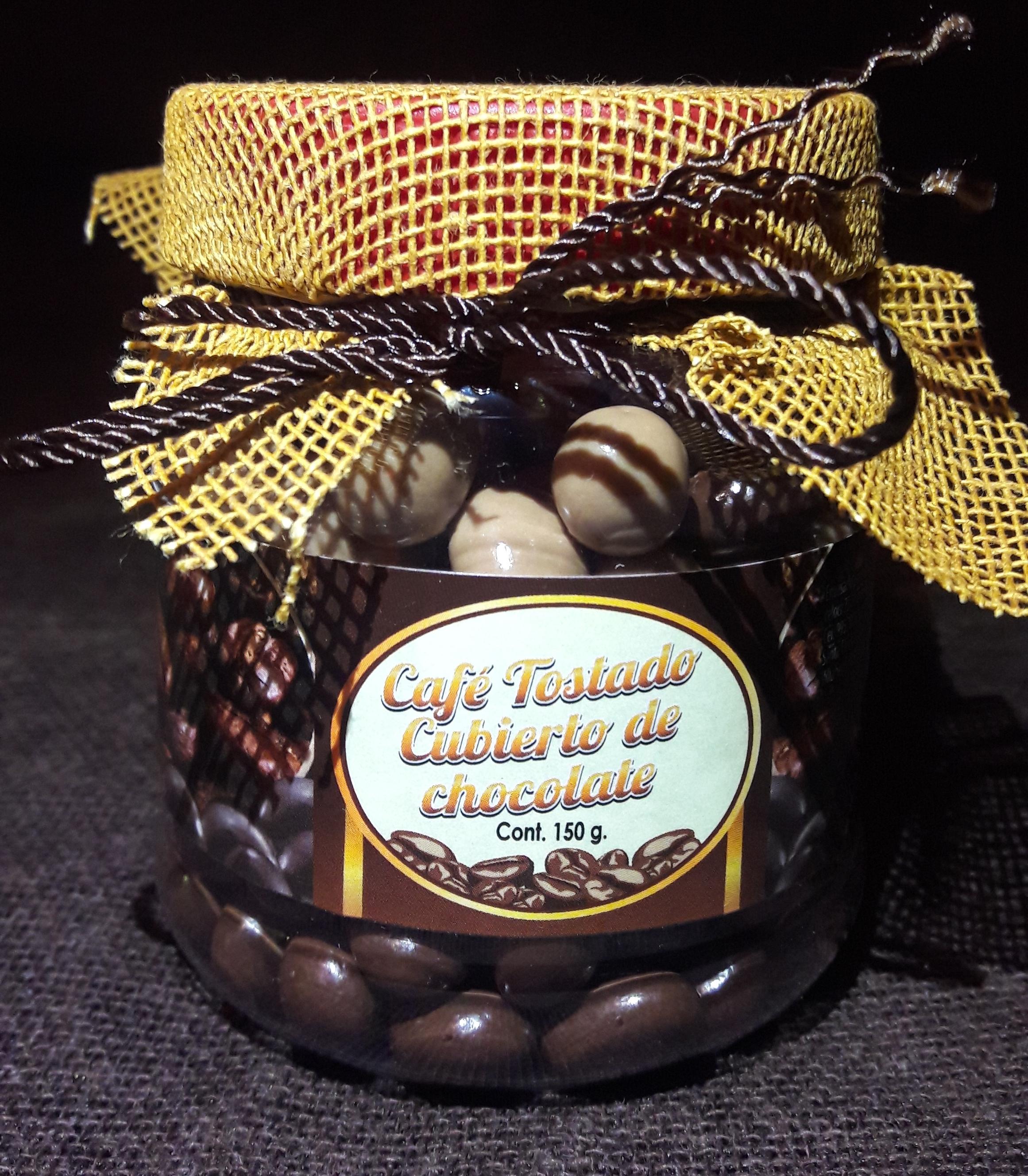 Grano de café tostado cubierto de chocolate bote con 150gr