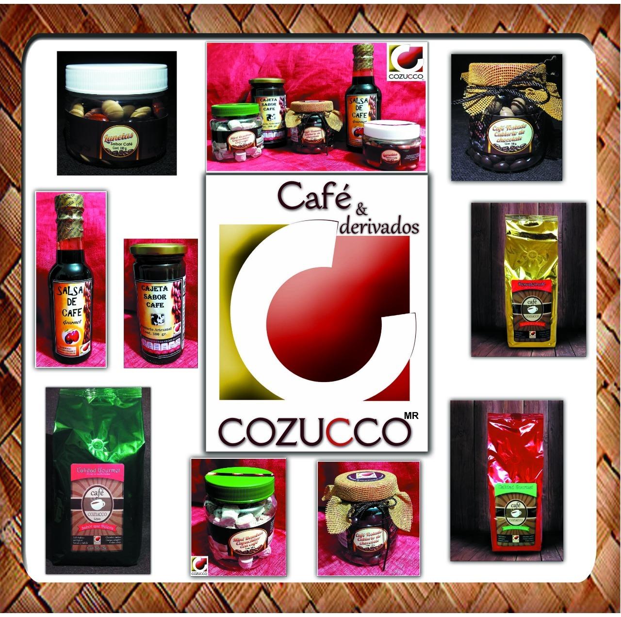 Diferentes productos a base de café, como Salsa de café, cajeta de café, obleas con cajeta de café