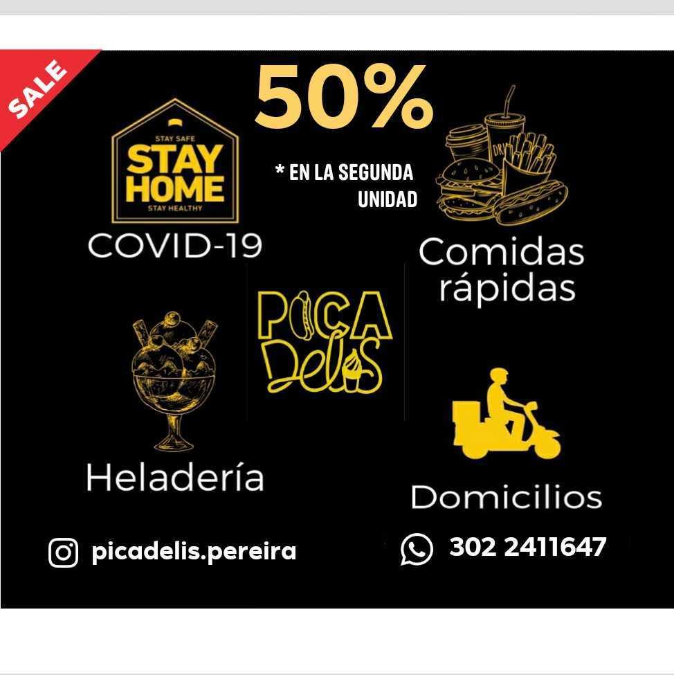 Este fin de semana (15 al 17 de mayo). Descuento del 50% en la segunda unidad que compres en los productos de heladería y comidas rápidas. Domicilios gratis en área urbana de Pereira y Dosquebradas.