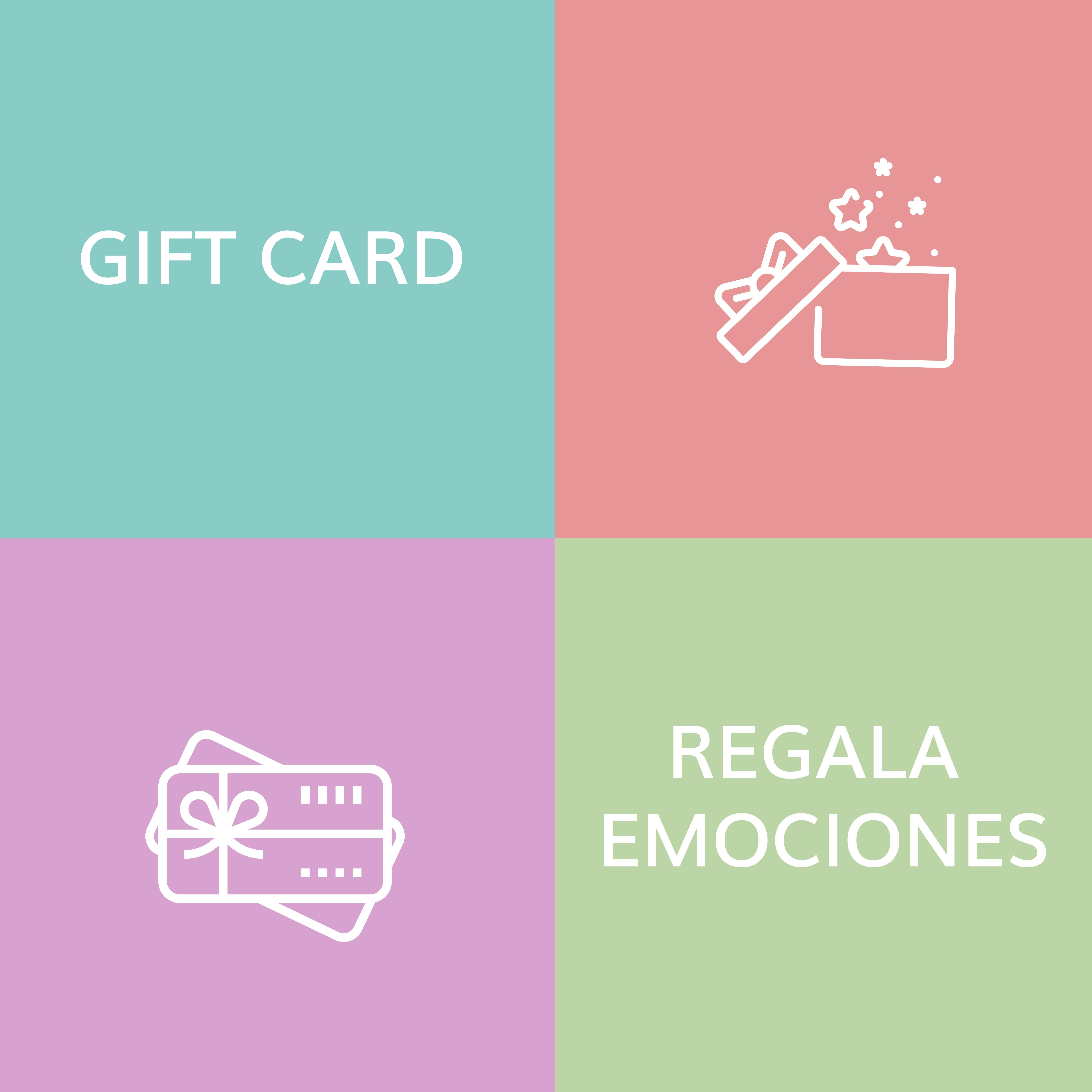 ¿Qué tal si te animas a regalar emociones? *Nuestras GIFT CARDS tienen una validez de 6 meses. Ver instrucciones para canjearlas.