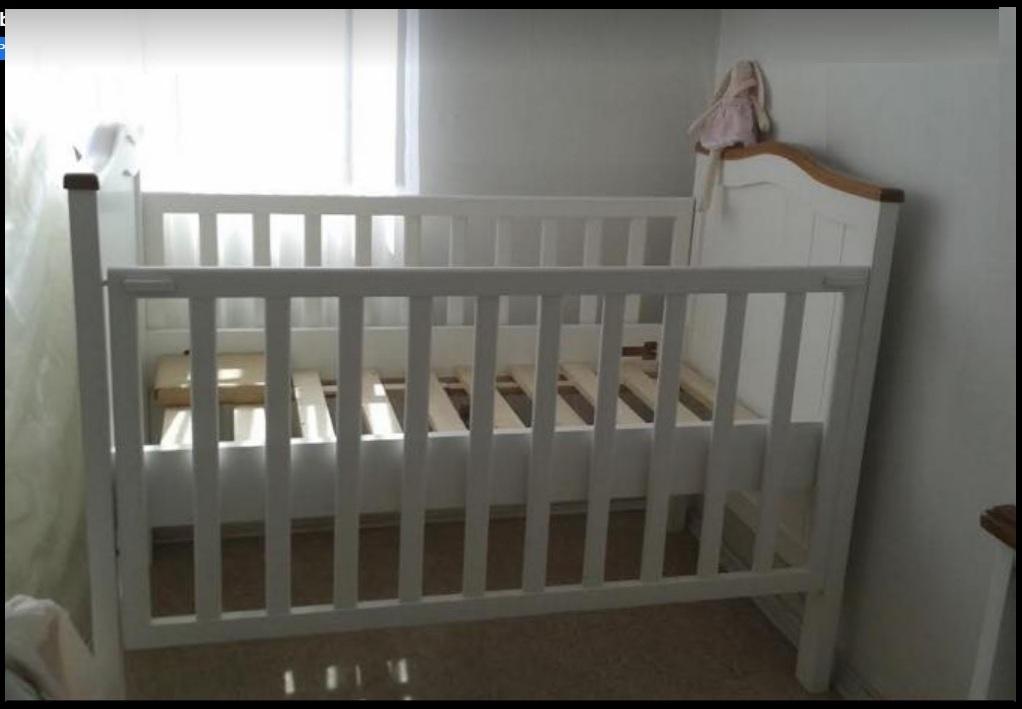 Cuna para  bebé Paula, para colchón 70 x 140, baranda deslizable $410.000