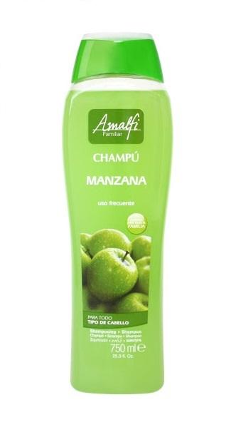 Shampoo Frutal Amalfi Manzana Uso Diario Todo Tipo de Cabello * 750 ml   Shampoo a base de aceites Frutales que dejan tu cabello limpio y sedoso, por su suave formula se puede utilizar en niños mayores de 6 años.