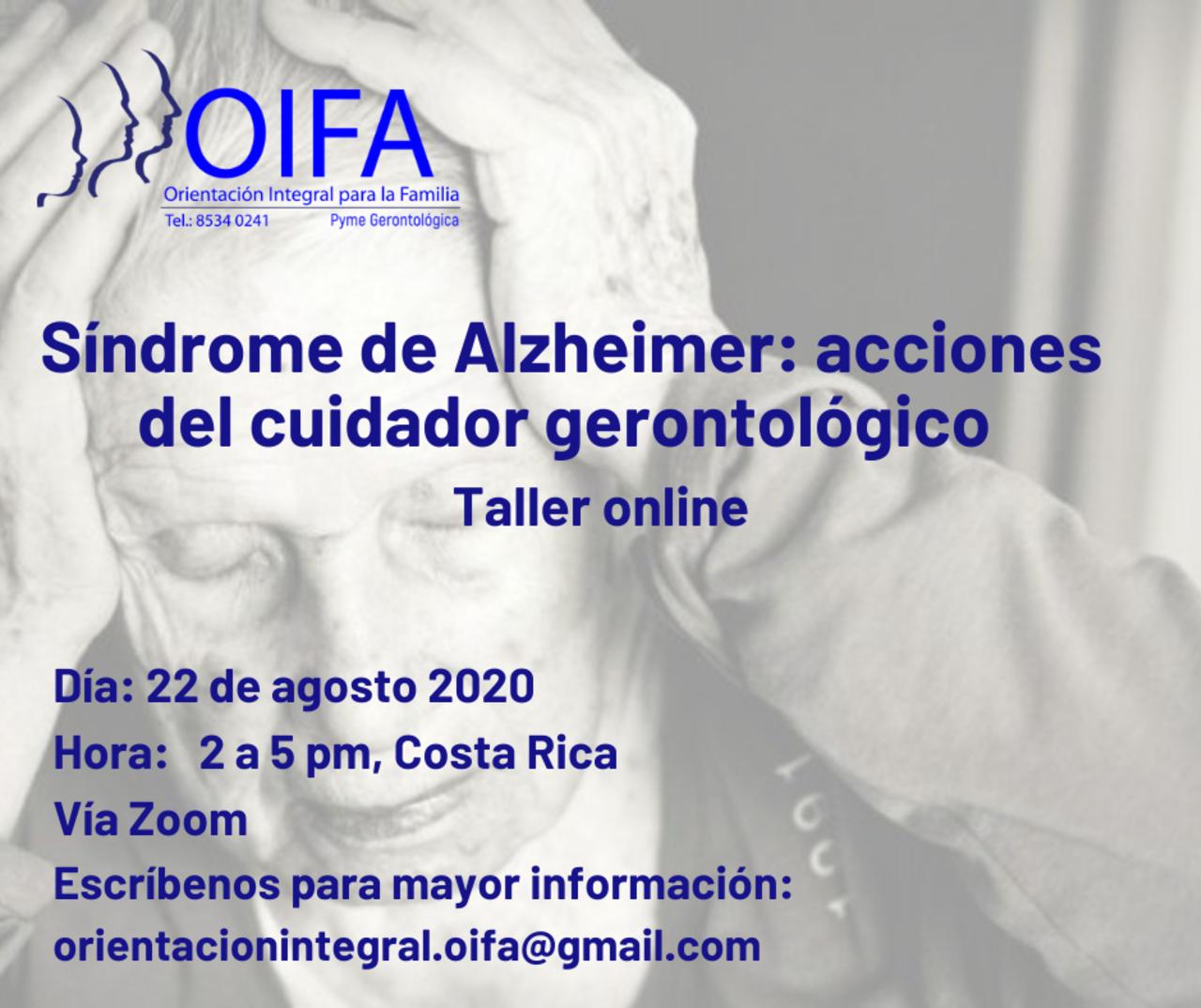 Taller para cuidadores de mayores donde aprenderemos sobre el Síndrome Alzheimer, cómo actuar ante algunas conductas y cómo generar actividades con sentido para la persona adulta mayor.